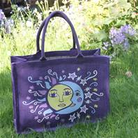 Jute shopping bag, purple with sun & moon 32x42x18cm
