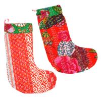 Stocking kantha Christmas colours