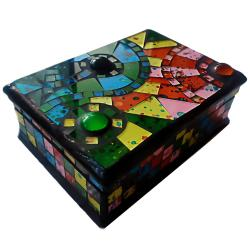 Jewellery box mosaic multicoloured