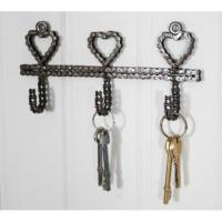 Wall hook recycled bike chain triple small hearts