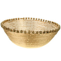 Bike chain and wire bowl, gold colour, 24cm