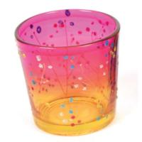 Tealight holder glass pink/orange