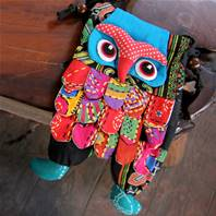 Shoulder purse, fabric, owl assorted colours 13 x 23cm
