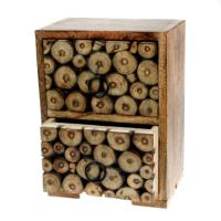 Mini chest of 2 drawers, decorative wood twig