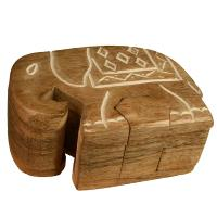 Elephant shaped puzzle box, mango wood