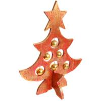 Christmas tree, wood with baubles, red 32cm