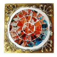 Set of 4 gold coloured square coasters, red mosaic