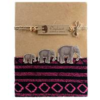Notebook elephants, assorted textiles, 10x20cm