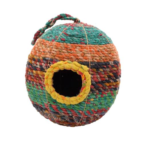 Bird house, woven recycled saris on frame, oval