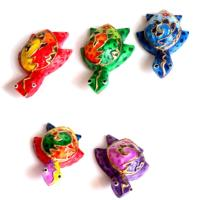 Set of 5 colourful wooden turtles