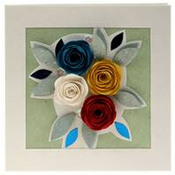 Handmade greetings card, 4 roses blue white red yellow