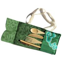 Bamboo cutlery set in green cotton pouch