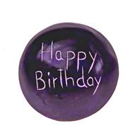 Sentiment pebble round, Happy Birthday, blue