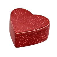 Kisii stone heart shaped trinket box, red with dots