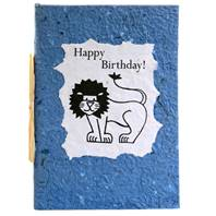 Birthday card, lion, blue