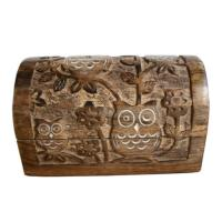 Chest, mango wood, carved owl design