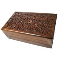 Wooden secret lock box, tree and flowers, 15x25x8.5cm