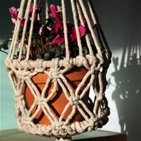 Hanging basket crochet 27cm diam 110cm length