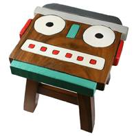 Child's wooden stool, robot