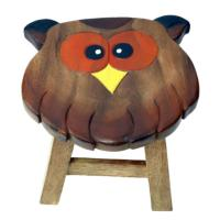 Child's wooden stool - owl