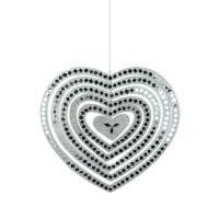 Mobile, heart silver, mirrored tiles, 26cm