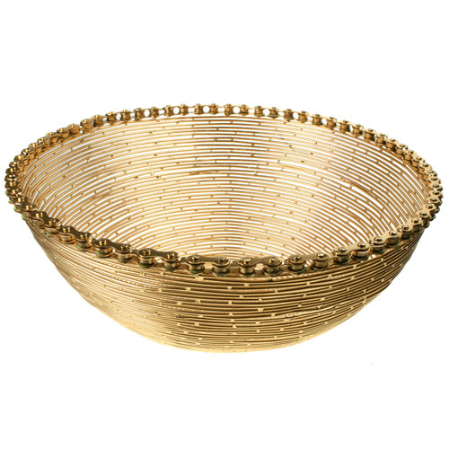 Bike chain and wire bowl, gold colour, 28cm