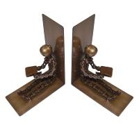 Bike chain bookends, sitting figures