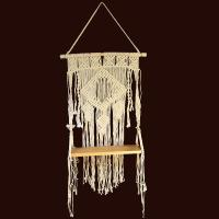 Wooden shelf with macrame backdrop/support