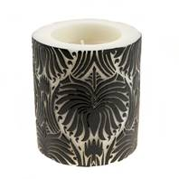 Candle lotus flower black + white, 7.5cm recessed