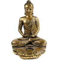 Buddha stone cast with t-lite holder, gold colour 32cm