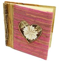 Handmade notebook, inlaid heart design, 19x19cm