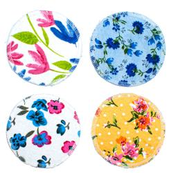 Set of 4 reusable makeup removers, floral designs