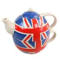 Union Jack painted ceramic tea set for one