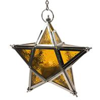 Lantern, star shape yellow, 17cm with chain