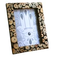 Photo frame, decorative wood twig slices for 7x5inch photo