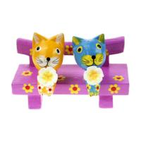 Colourful cats, 2 on bench, 10x8cm