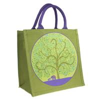 Jute bag, tree of life with elephants