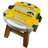 Child's wooden stool, ambulance