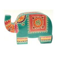 Leather money box elephant green