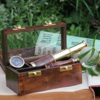 Nautical box, mini telescope, compass & magnifying glass