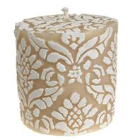Candle pineapple damask white + ivory, 7.5cm flat