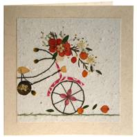 Handmade greetings card, bicycle with flowers