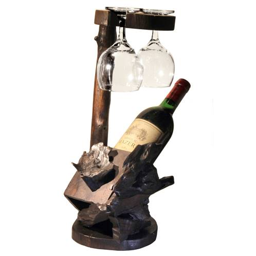 Wine bottle holder with glass holder