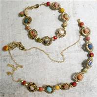 Necklace, cotton balls with gold coloured rings
