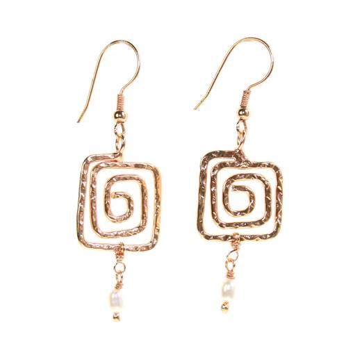 Earrings, rose gold coloured, maze pattern with bead