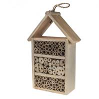 Bee/bug house, wood 3-tier, 38cm height