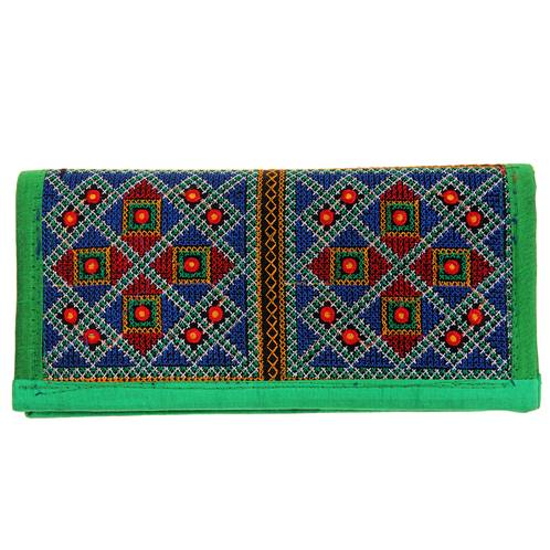 Bright clutch bag embroidered kadai work 24x12cm