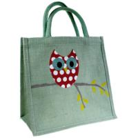 Jute shopping bag pale green, owl on branch