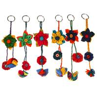 Keychain, Rakhi, flowers, recycled fabric assorted colours, 22cm