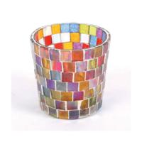 Tealight holder glass multicolour squares